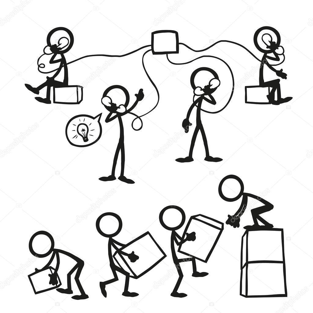 Set Of Stick Figures Business Work