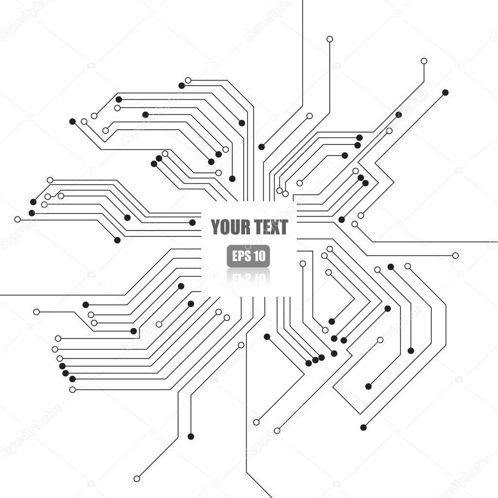 흰색 배경 벡터: 전자 회로 — 스톡 벡터 © anueing #82482392