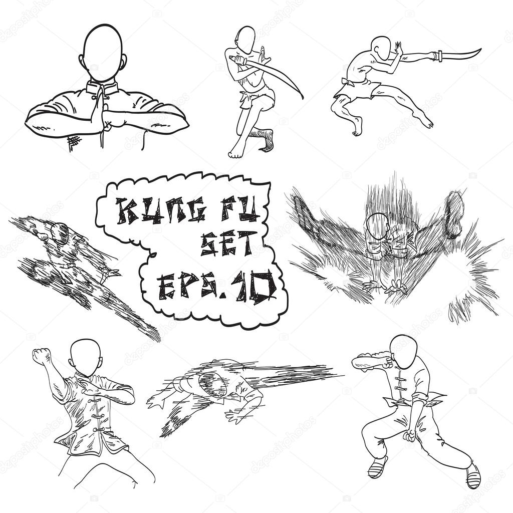 Vector Hand Drawn Set Of China S Kung Fu Doodles