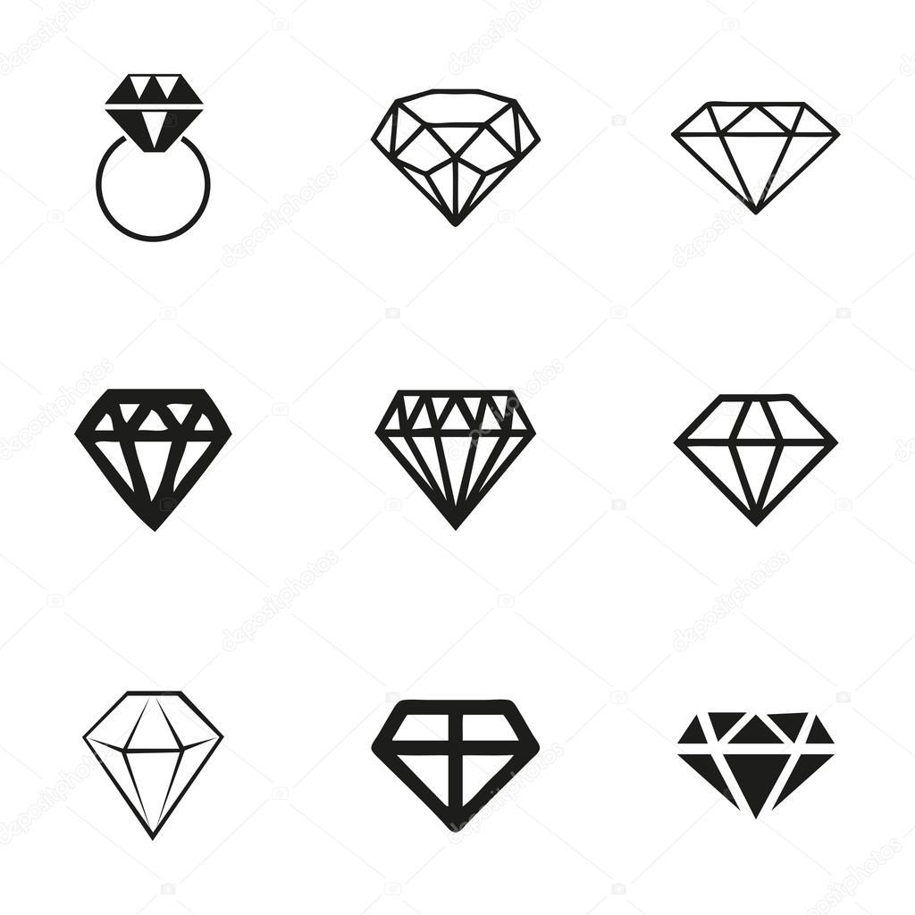 Conjunto De Icones Do Vetor Diamante