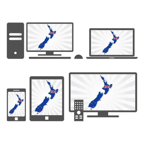 Új-Zéland Térkép — Stock Vector #39945887