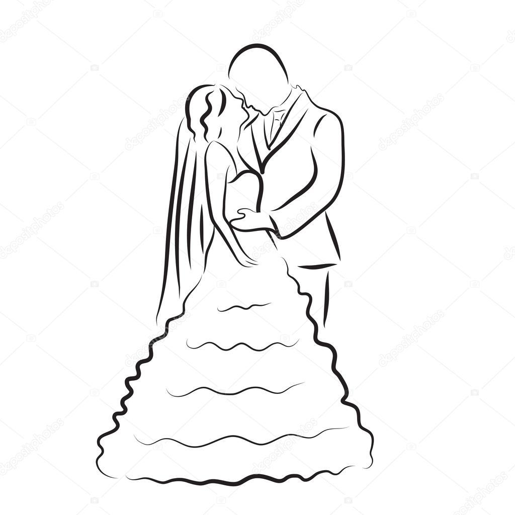 Silhouette der Braut und Brutigam Brautpaar Skizze hand zeichnen Hochzeit Einladung Vektor