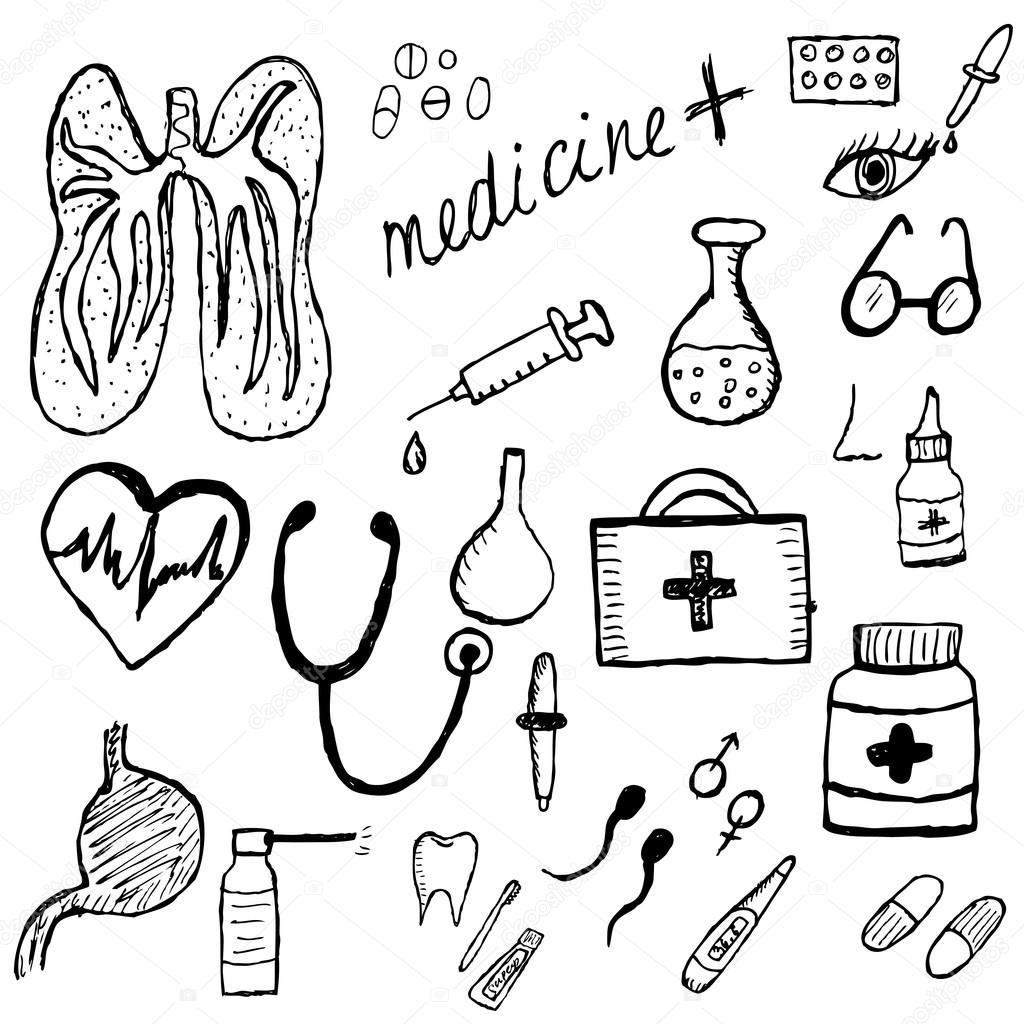 Esboço de conjunto médico, estilo de desenho manual