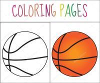 Pgina de libro para colorear, bola de baloncesto. Versin ...