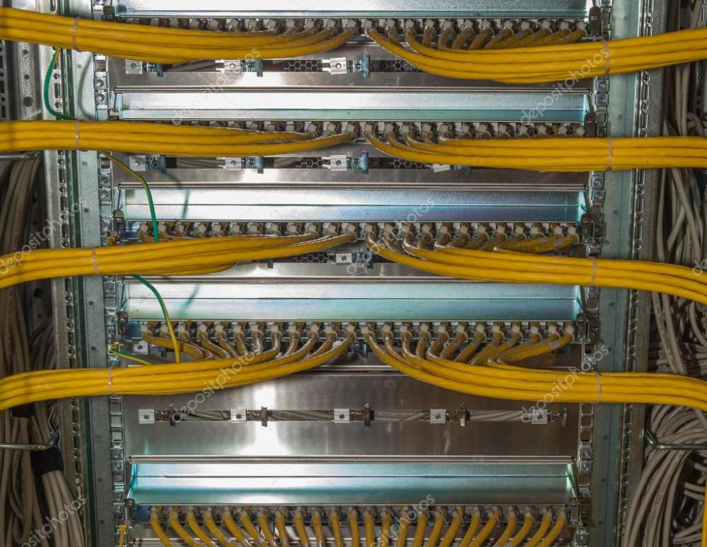 medium resolution of it redundancy lan cable connections in a datacenter on a network distributor stock photo