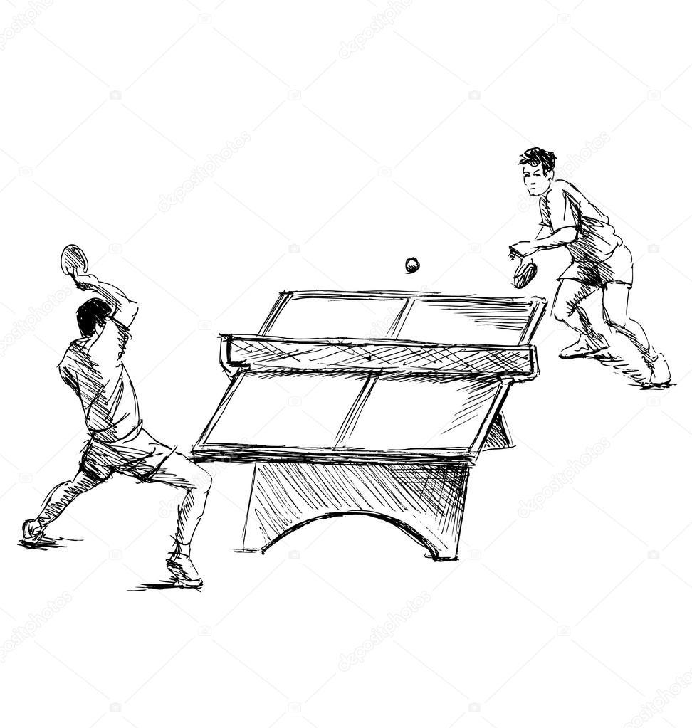 Jogadores de ténis de mesa com esboço manual imagem