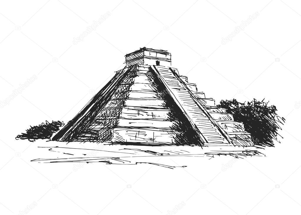 Piramides Aztecas Dibujo Vector