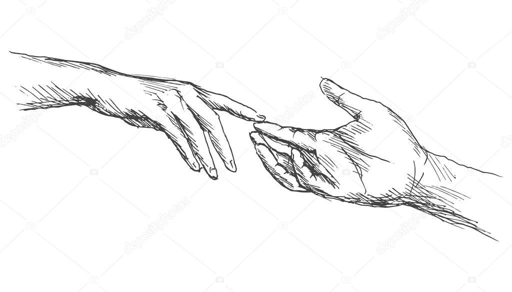 Skizze, die Hände berühren — Stockvektor © onot #73650213