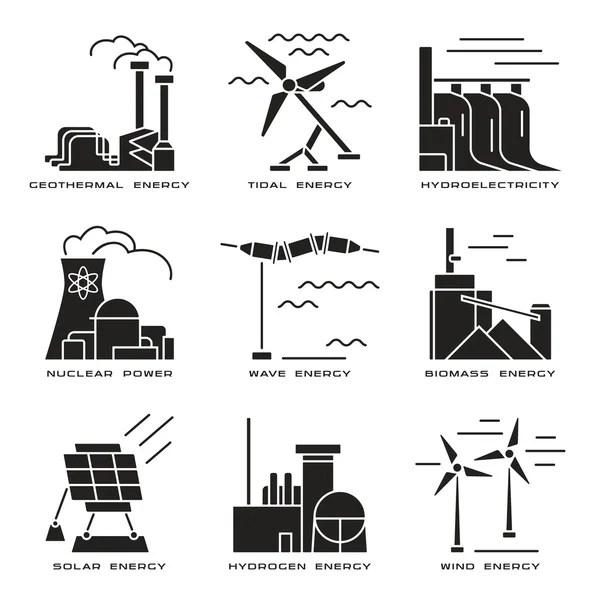 発電所のアイコン。発電プラントおよびソース — ストックベクター © MSSA #109147280
