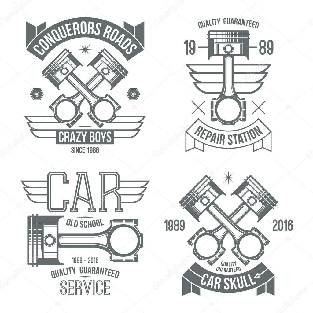 Car engine piston emblems — Stock Vector © Neuevector