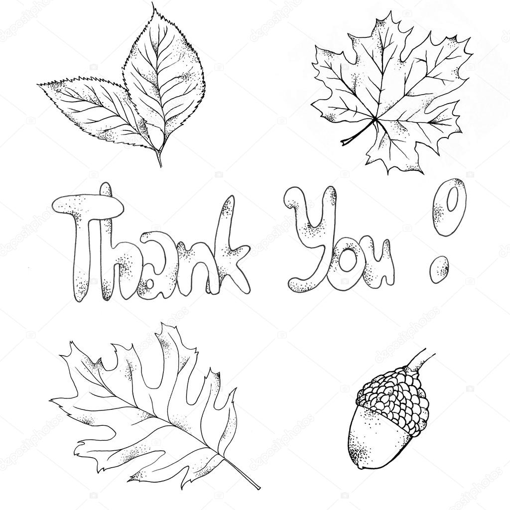 Leaves, acorn and letters thank you! — Stock Photo