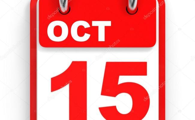 Calendar On White Background 15 October Fotos De Stock