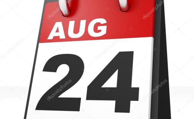 Calendario Sobre Fondo Blanco 24 De Agosto Fotos De