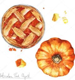 watercolor food clipart pumpkin pie stock photo [ 1024 x 1024 Pixel ]