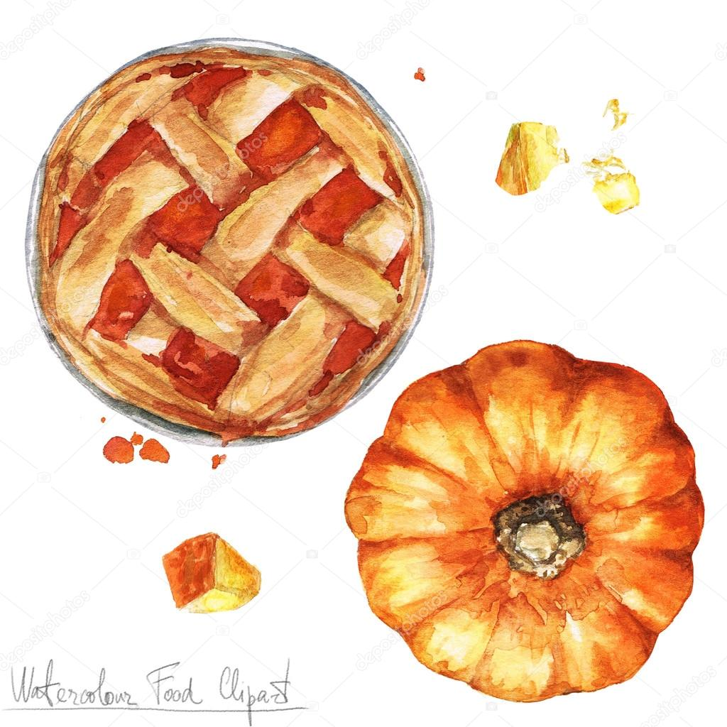 hight resolution of watercolor food clipart pumpkin pie stock photo