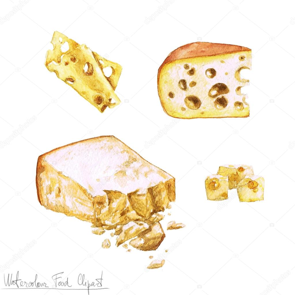 hight resolution of watercolor food clipart dairy products and cheese stock photo