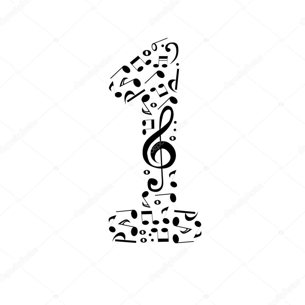 Set De Vector Abstracto Numero Uno De Notas Musicales
