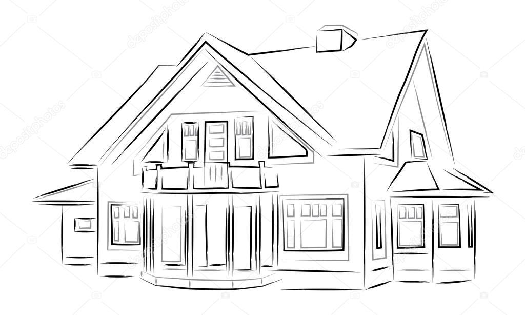 Skizze-Häuser-Vektor — Stockvektor © sergeevana #82073206