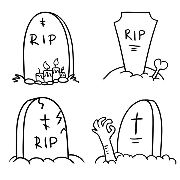 Scary tombstones in Halloween night. outlines — Stock