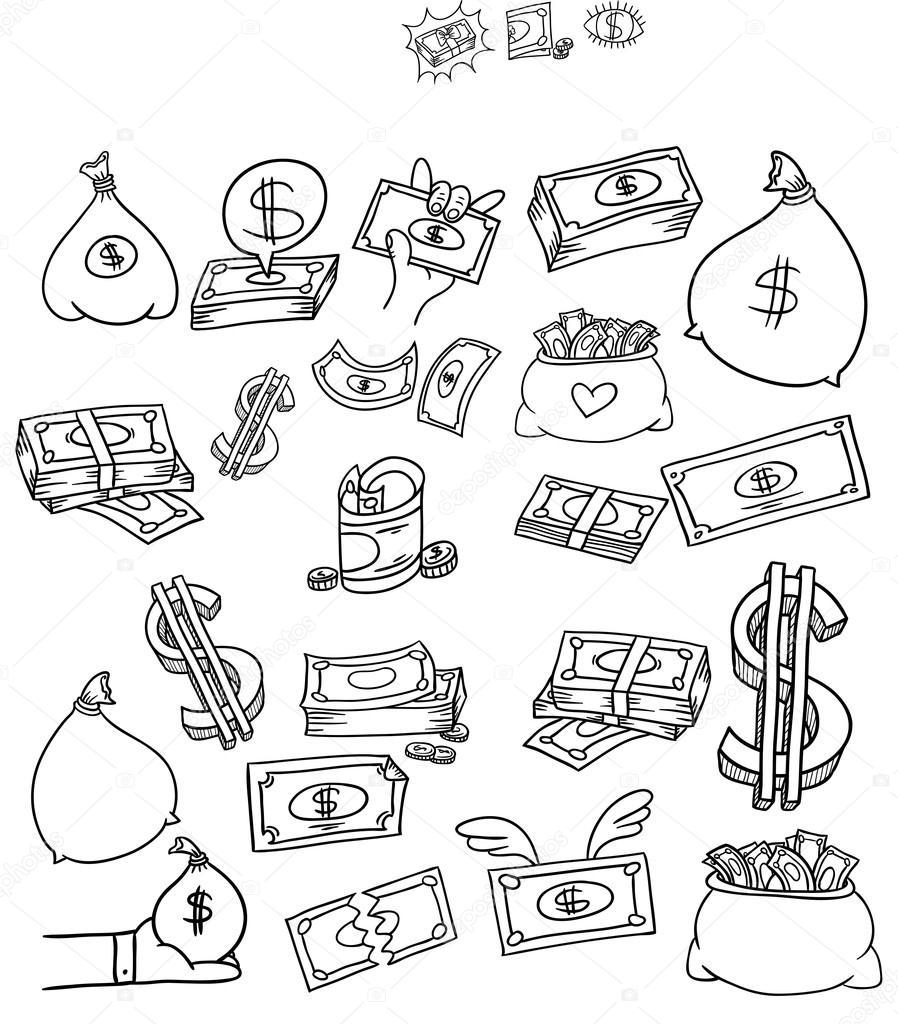 Doodle símbolo financeiro — Vetores de Stock © BalakoboZ