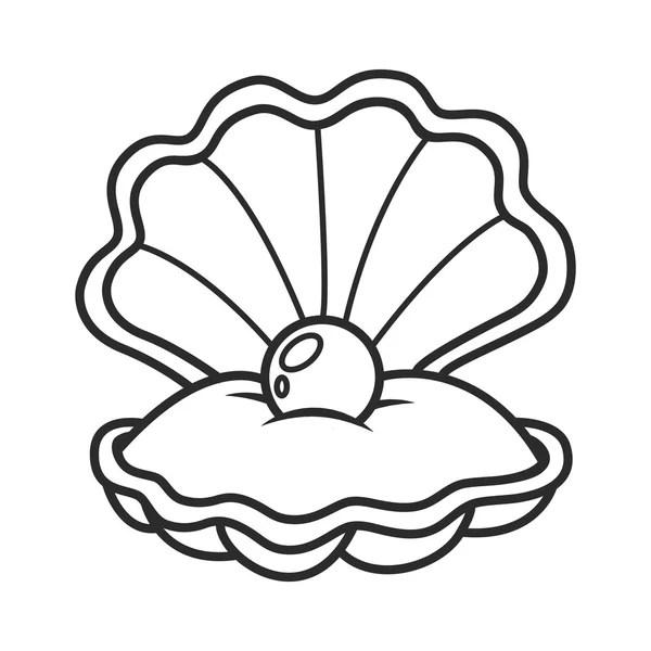 scallop seashell with pearl — Stock Vector © BalakoboZ