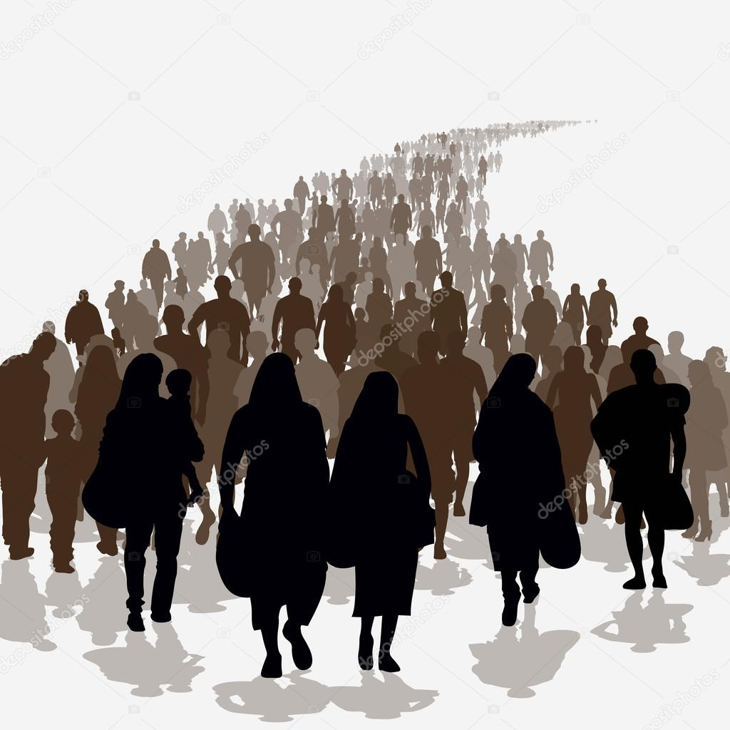 Silhouettes Of Immigration People
