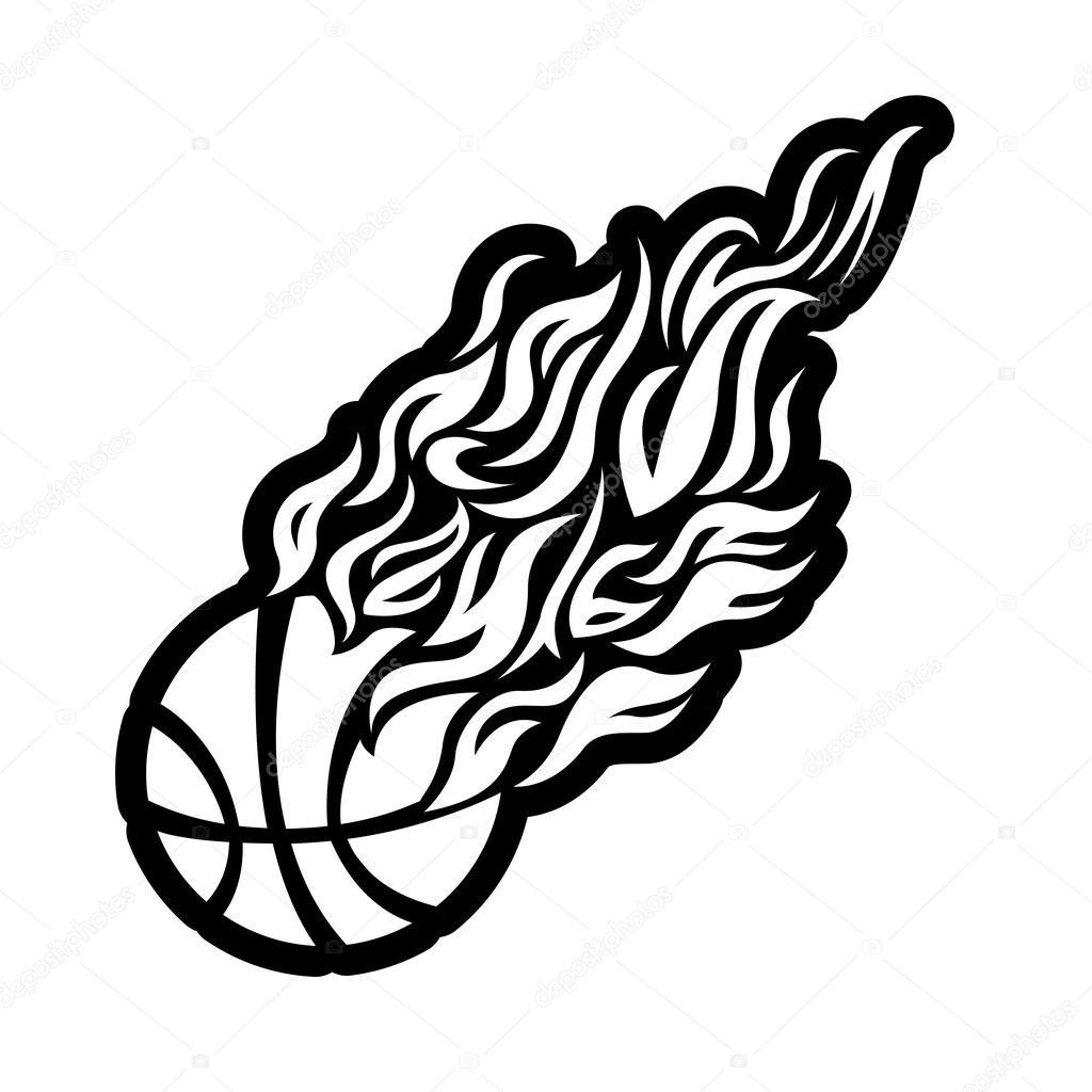 Vector Flame Fire Ball Black Basketball Symbol Icon
