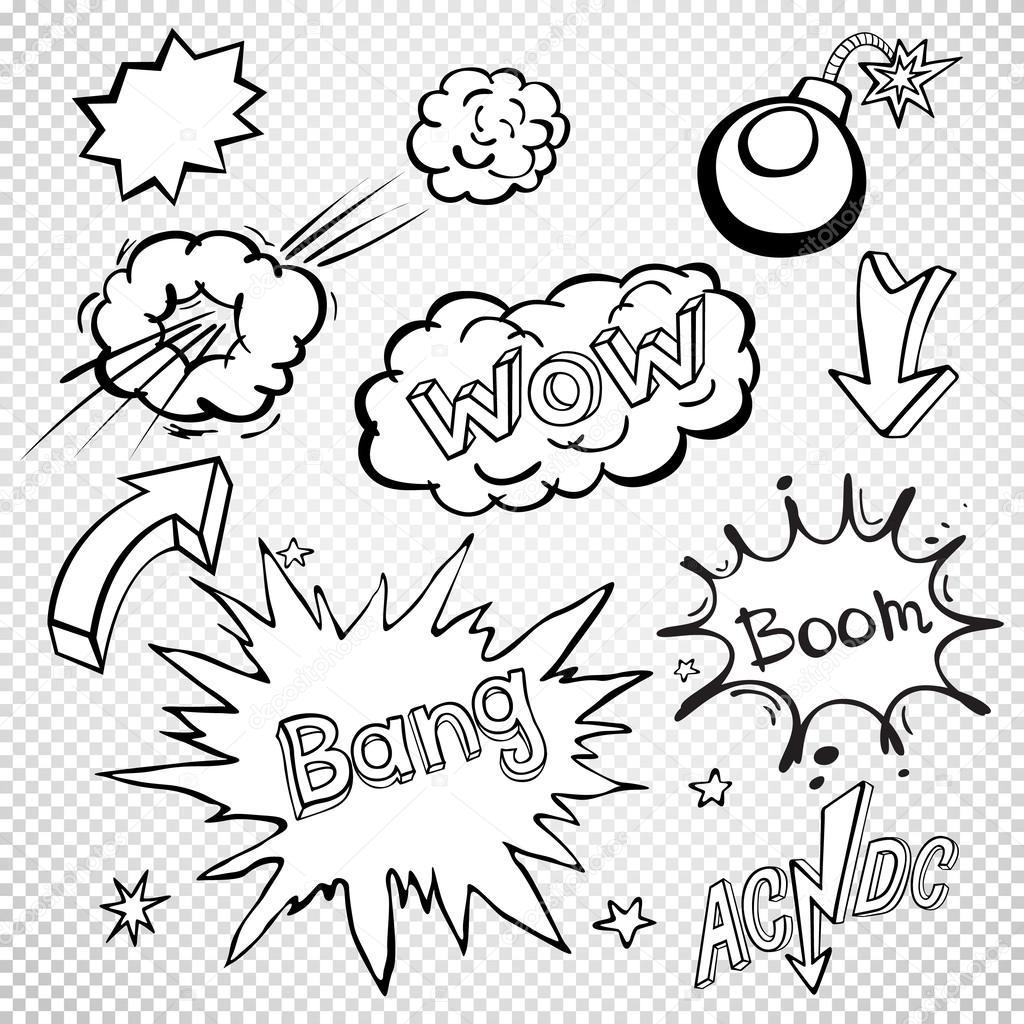 Burbujas de discurso cómico en blanco set, de sonido texto
