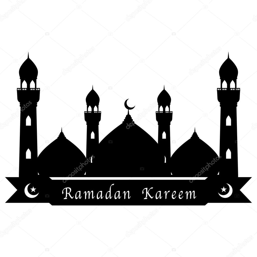 Black Mosque And Moon And Star With Ribbon On White