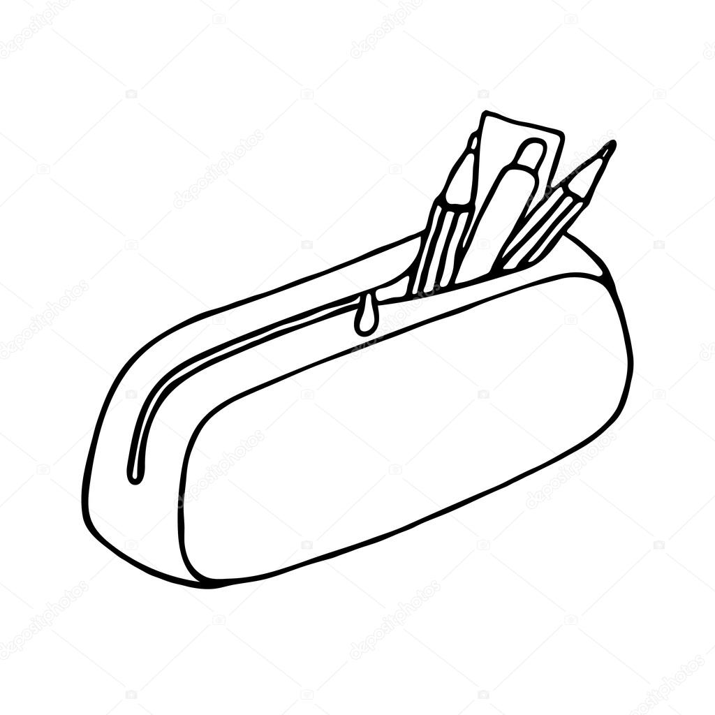 Pencil Case Icon Outlined