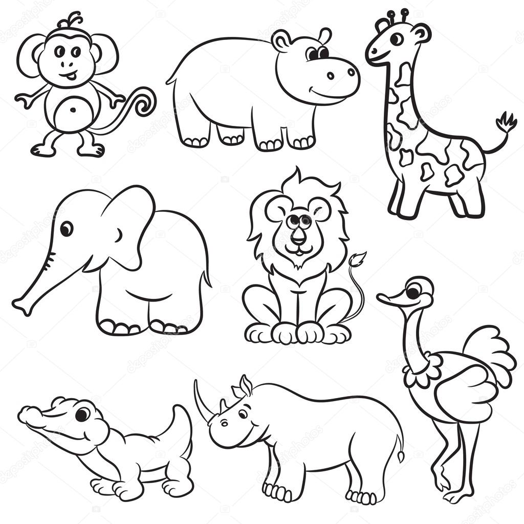 Cute Outlined Zoo Animals Collection Vector Illustration