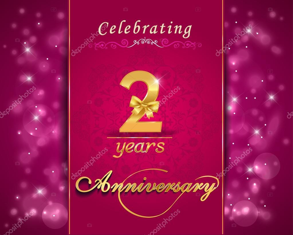 2 Year Anniversary Celebration Sparkling Card, 2nd