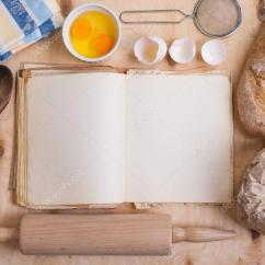 Kitchen Design Template Modern Table Sets Baking Background With Blank Cook Book, Eggshell, Flour ...