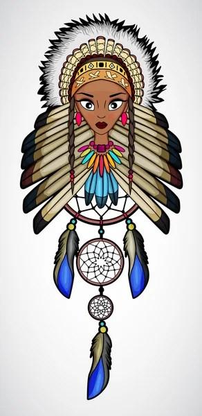 印度美國原住民女孩與捕夢網的卡通 — 圖庫矢量圖像© awatch2 #103280718