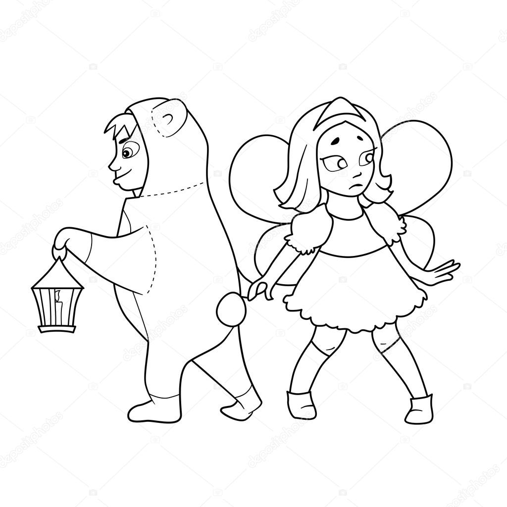 Coloring book with Cartoon of boy in costume of bear with