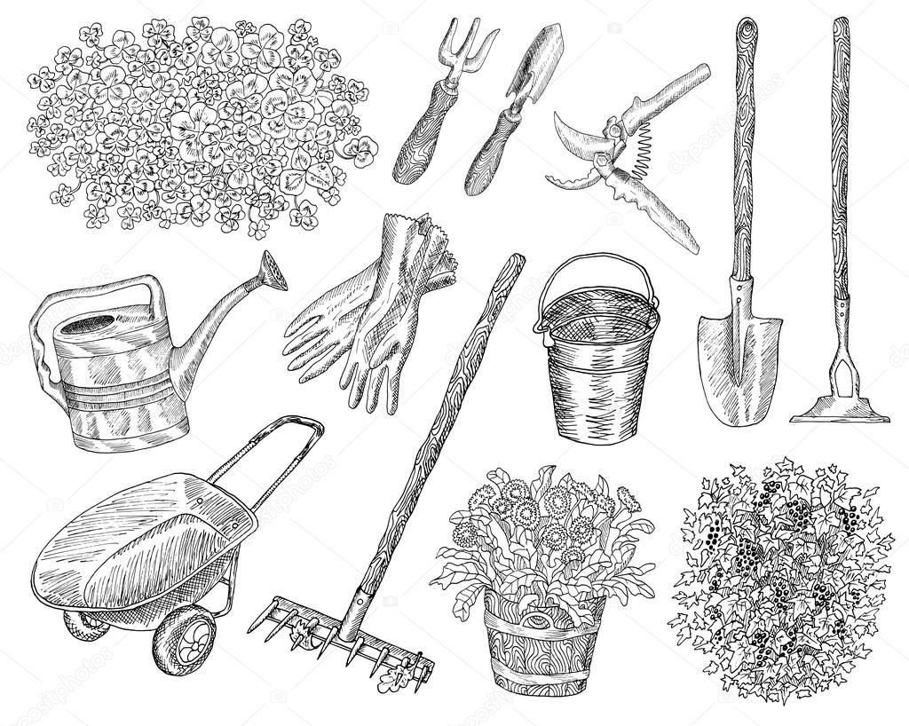 Set With Vintage Garden Tools