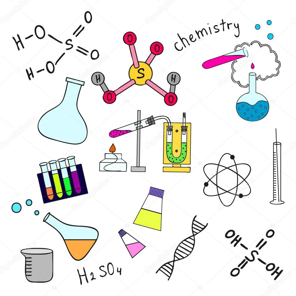 Colorful Sketch Of Science Doddle Elements