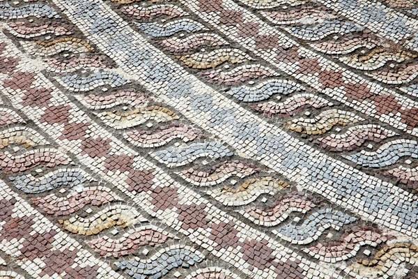 Pesce e mosaico romano con ornato  Foto Stock  pifate 16986337