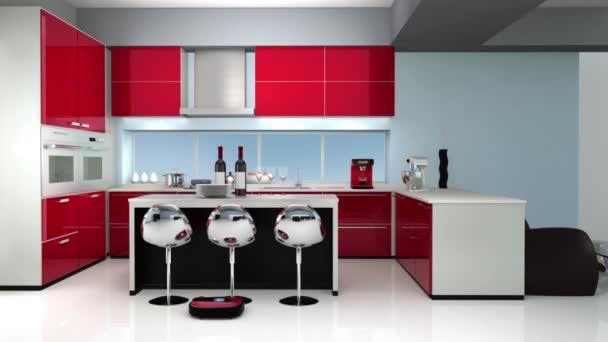 kitchen vacuum best damascus knives 在现代厨房室内的机器人真空吸尘器 图库视频影像 c chesky w 74573601