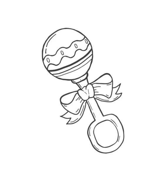 Hand drawn baby rattle — Stock Vector © vectorfusionart