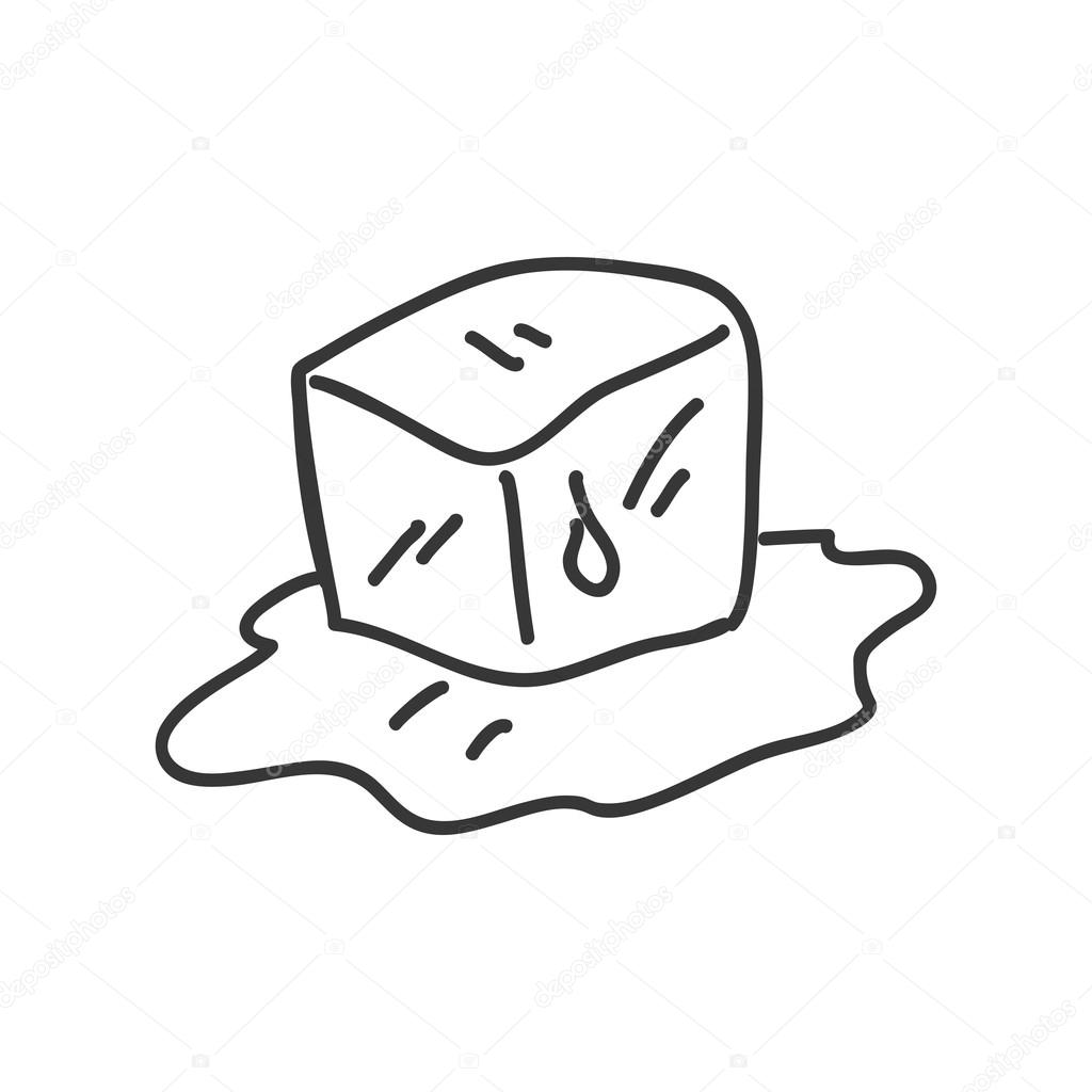Ice Cube Icon Sketch Design Vector Graphic