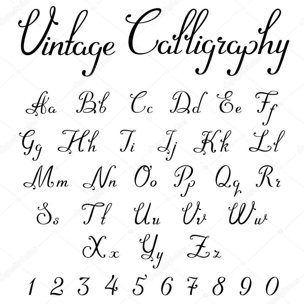 Vintage kaligrafické Skriptové písmo — Stock Vektor