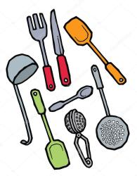 vector kitchenware cocina dibujo fork utensilios spatula ladle hand utensils drawing cooking strainer spoon knife kitchen depositphotos