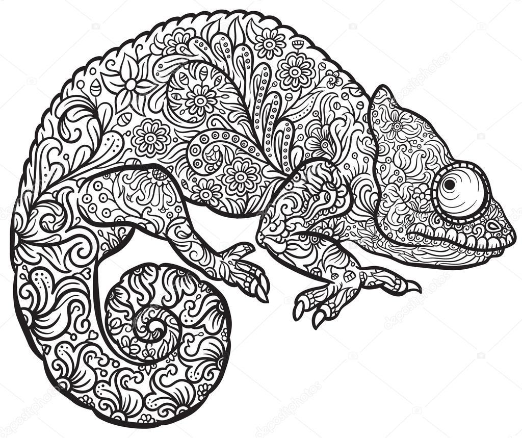 Zentangle stylized multi coloured Chameleon — Stock Vector
