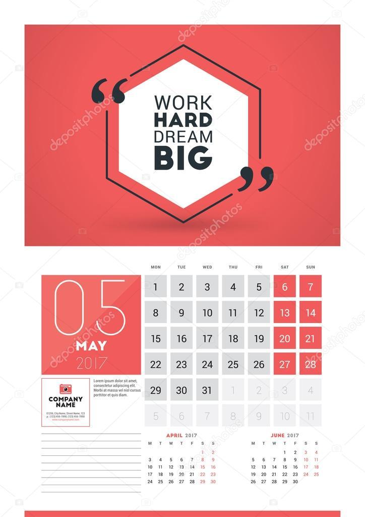 pic 2017 Poster Calendar Template https depositphotos com 110808880 stock illustration wall calendar planner print template html