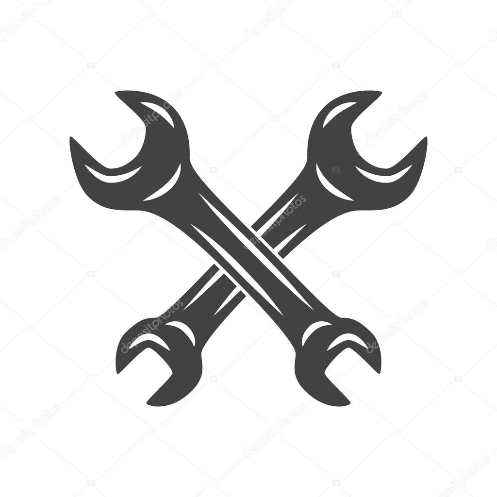 Two Crossed Wrenches Logo Elements Black And White