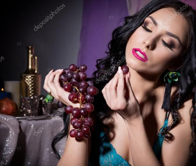 Beautiful Sexy Oriental Woman In Black Lace Lingerie With Long Hair Eating Grapes In The Dark Room Photo By Tanyunya2014
