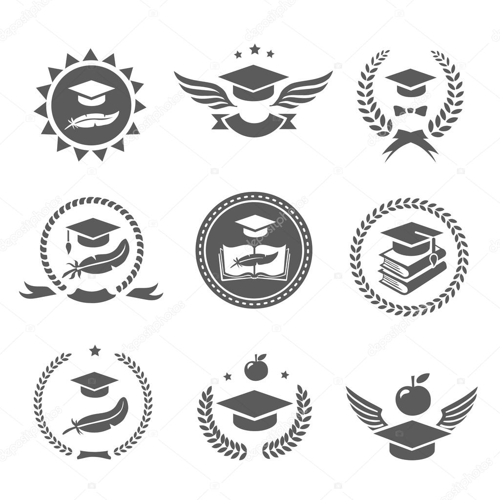 Graduation cap labels set. College study, diploma and hat