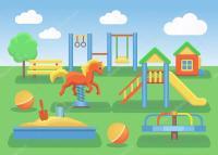 Los nios parque infantil concepto plano fondo  Vector de ...