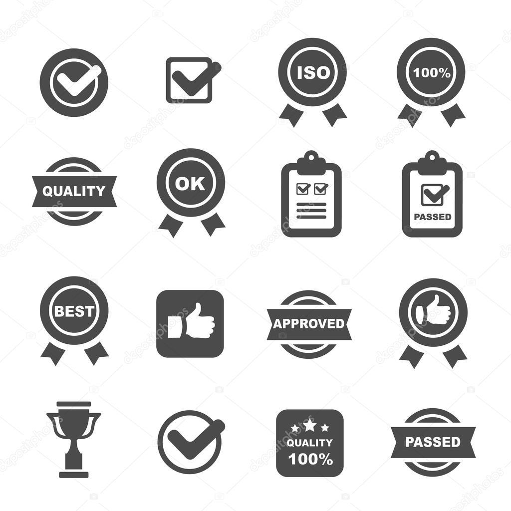 Controllo Di Qualita Icone Set Simboli